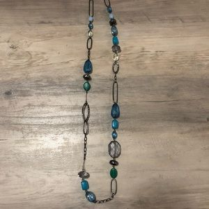 Blue and dark metal costume jewelry necklace